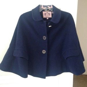 Juicy Couture** Wool Navy Cape w/ arm slots